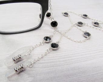 Silver and Black Glasses Necklace; Glasses Chain; Glasses Leash; Glasses Lanyard; Reading Glasses Holder Necklace; Eyeglasses Cord