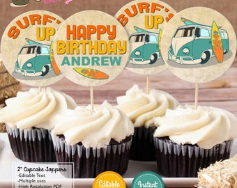 """INSTANT DOWNLOAD - EDITABLE Vintage Surf Birthday 2"""" Cupcake Toppers - Summer Surf Party decorations Surf favor tags"""