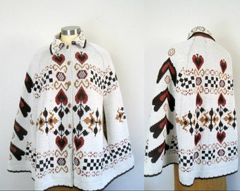1970s Boho Poncho Cape Shawl // Folk Design Button Front With Collar One Size