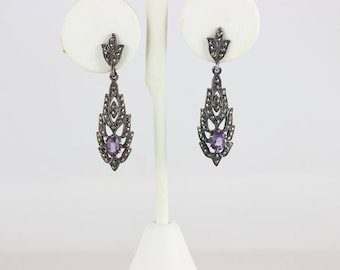 Sterling Silver Amethyst and Marcasite Earrings dangle drop