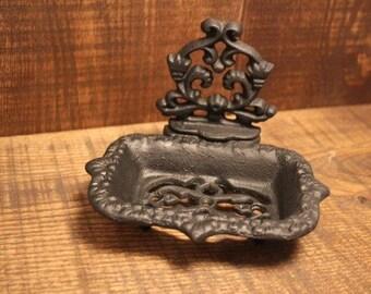 Cast Iron Ornate Victorian Soap Dish Black