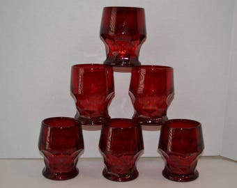 "6 Piece Cranberry Glass Tumblers, Drinking Glasses, 4""H"