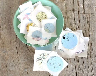 set of 30 assorted vintage map round stickers or seals