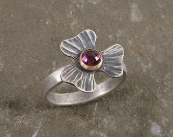 Sterling Silver & 14k Gold Clover Ring with Plum Garnet ~ Handmade Textured Flower Ring w/ Rhodolite Garnet, Made To Order in Your Size
