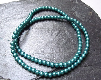"100 ""turquoise"" glass pearls 4 mm."