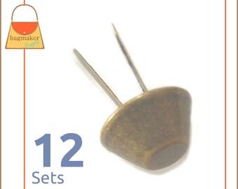 14 mm Purse Feet, Handbag Bottom Studs, Antique Brass Finish, 12 Feet, Handbag Purse Bag Making Hardware Supplies, PFT-AA004