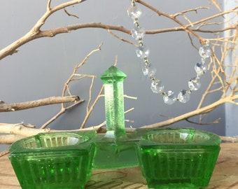 VINTAGE DECOR...vaseline green pressed glass salt cellar,spices kitchen table serving formal dinner,jewelry display,entertain christmas