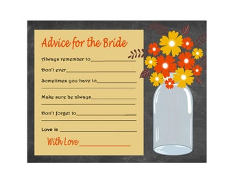 Printable Wedding Advice Card, Fall Advice Bride, Bridal Shower Advice, Wedding Shower Well Wishes, Orange, Yellow INSTANT DOWNLOAD 312