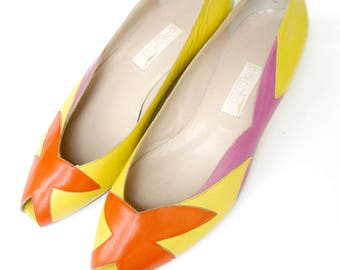 Leather Peep Toe Platform Flats // Designer Paloma Picasso Size 7.5 Made in Italy