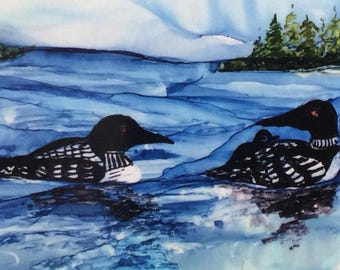 Loons. Alcohol Ink Note Card Print. Blank Note Card. Fine Art Card. Original Art Print. Stationery. Framable Card. Lake Scene. All Occasion