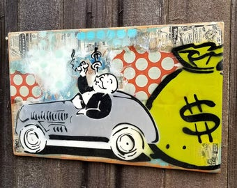 Zero Cares Monopoly Mixed Media Graffiti Art Painting on Photo Transfer Original Art on Handmade Canvas Home Decor Pop Art Uncle Pennybags