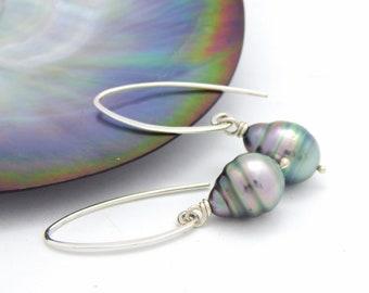 Tahitian Pearl Circled Drops on Silver Arc Earrings