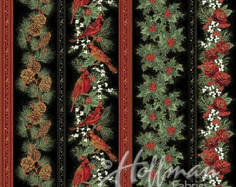 Hoffman Bali Fabrics - Cardinal Carols - Q7625 4G - Black-Gold - 100% cotton screenprint with metallic accent