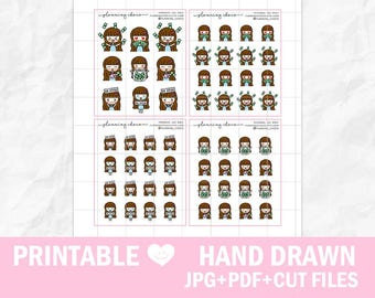 Hand drawn chibi girls 3/ECLP/EC vertical/basic functional printable planner stickers/pdf, jpg, silhouette cut files/cute kawaii character