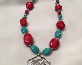 Turquoise and Red Necklace with Silver Flower Pendant