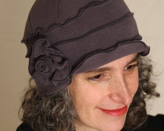 Polar Fleece Cloche Hat - Ladies Winter Hat - Flapper Style - Grey - Annique