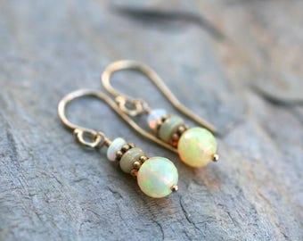 Ethiopian Opal Gemstone Earrings, 14KT Gold Filled Earrings, Opal Gemstone Jewelry, Gold and Opal Earrings, October Birthstone,Welo Earrings