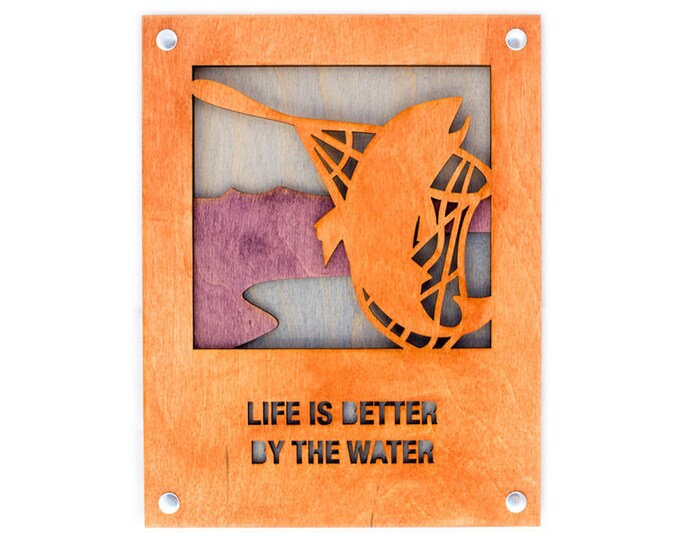 Fishing Scene - Rustic Wall Art - Angler Wall Decor - Adventure Decor - Mountain Home Art - Angler Gift - Adventure Gift - Trout Fishing