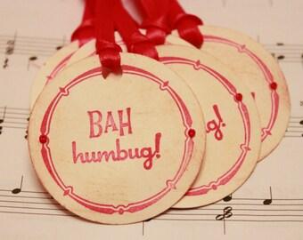 Christmas Tags (Double Layered) - Bah Humbug Gift Tags - Handmade Vintage Inspired Christmas Gift Tags - Set of 8