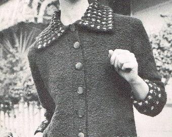Vintage Women's Knitting Pattern - Belt Spring Jacket from 1962 - instant download PDF - 60s knitting pattern for ladies
