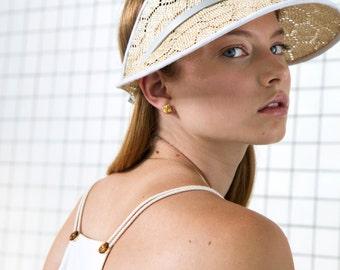 Sisal Straw Visor. Honeycomb Visor. Adjustable Leather Finish. Fun Spring Fashion. Sisal Cap SS16