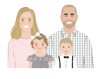 Family drawing. Custom family portrait. Custom portraits. Romantic gifts for her. Personalized gift. Digital file only - Draw me, please.