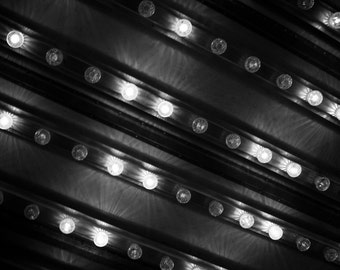 Photograph Abstract of Black and White New Jersey Flashing Carnival Lights Bulbs State Fair Amusement Park Horizontal Art Print Home Decor