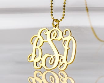 18K Gold Plated Monogram necklace over Sterling Silver 0.925