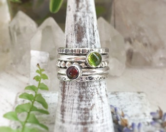 Silver peridot and garnet stacking ring set, size 6 3/4 - sterling and fine silver, textured rings, boho mothers day gifts for her