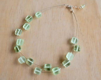 Green necklace. Necklace. Statement necklace. Bead necklace. Glass necklace. Gift for her. Mothers day gift. Upcycled. Recycled glass