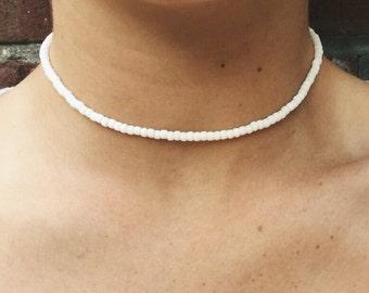 The Brett Choker - Simple, beaded, beachy choker - Available in white, gold, silver and black - beads choker - layering choker