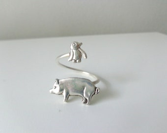 penguin and pig ring, adjustable ring, animal ring, silver ring, statement ring