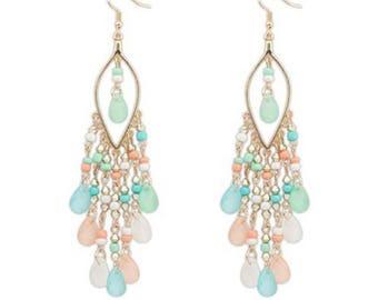 New Statement Crystal Charm Bohemian Beads Long Earrings, hawaiian earrings, bohemian earrings, hawaii jewelry, hawaiian jewelry