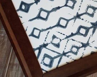 Indigo Shibori Bulletin Board Walnut Framed Tribal Magnetic Board  Farmhouse Cork Board Many Sizes Large Pin Board