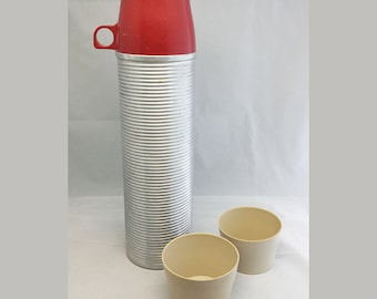 Vintage Thermos Brand with Red Top with 2 Cups