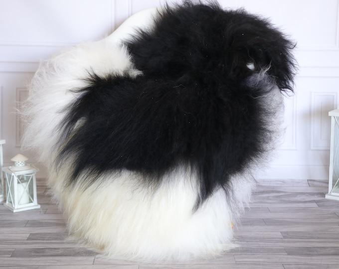Icelandic Sheepskin | Real Sheepskin Rug |  Super Large Sheepskin Rug Black White | Fur Rug | Homedecor #KOWISL19