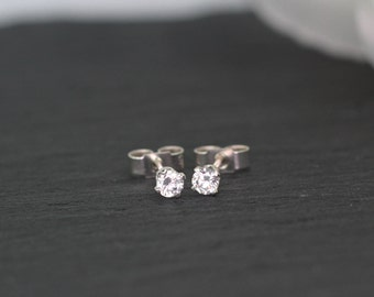 Little Sterling Silver Cubic Zirconia Stud Earrings