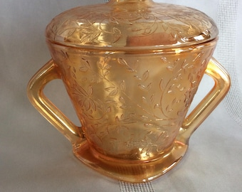 Carnival glass Floragold pattern sugar dish with lid iridescent marigold Jeannette glass