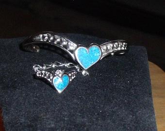 Blue Turquoise heart slave bracelet new