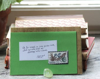 Oh for a seat in some poetic nook Card with handwritten text and postal stamp