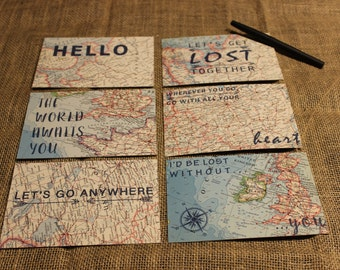 Vintage Map Notecards with Inspirational Quote -  Map Postcard Set - Map Stationery
