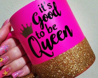 Good to be Queen // Queen of Everything // Glitter Dipped // Neon Pink // Personalized Mug // Matte Mug // Mother Daughter