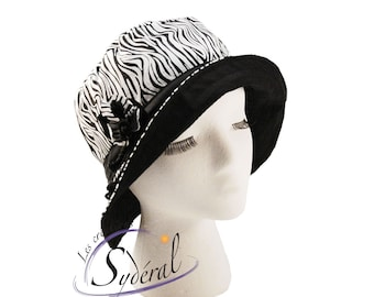 Ladies summer zebra hat, sun hat, beach hat, zebra hat, travel hat, women hat, women summer hat