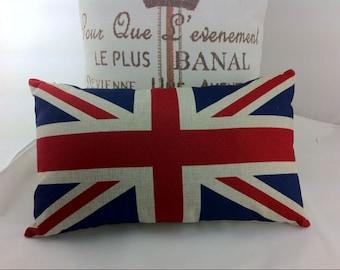 England Flag Burlap Pillow Case,12x20 Oblong Cushion Cover, Decorative  Burlap Pillow,burlap
