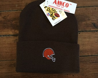 DEADSTOCK Cleveland Browns winter knit beanie toque NFL football winter hat cap knitwear brown ANNCO