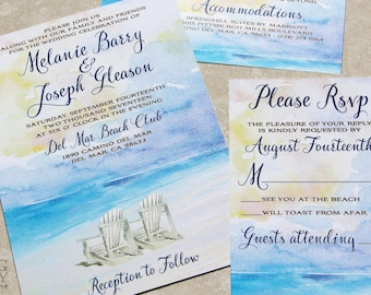 Summer Beach Wedding Invitation. Beach Watercolor wedding,Beach Destination Wedding, beach chairs wedding,watercolor, beach chairs,sunset