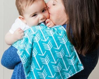 Burp Cloths Turquoise Arrow Minky Burp Cloth, Baby Shower Gift, Burp Rag, Drool Bib, Newborn Essentials, New Mom Essentials, Drooling Bib