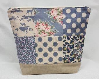 Tilda Pardon My Garden Fabric Medium Project Bag - Knitting Bag - Crochet Bag