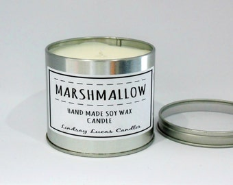 Marshmallow Candle, Sweet Scented Candle, Scented Candle, Tin Candle, Foody Candle, Marshmallow Scent, Large Candle, Strong Candle