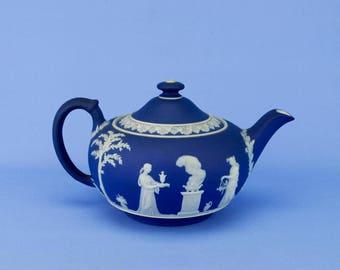 Jasperware Pottery Compressed Globular Teapot Wedgwood Antique English Edwardian Early 1900s Medium